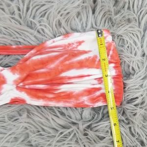 Swim - Lucky Brand Red White Strappy Bandeau Bikini Top L